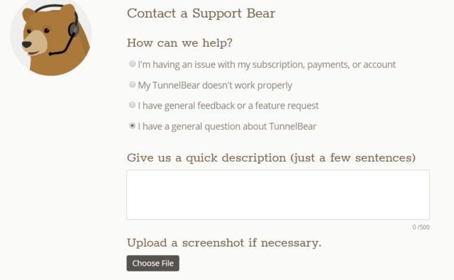TunnelBear customer support form