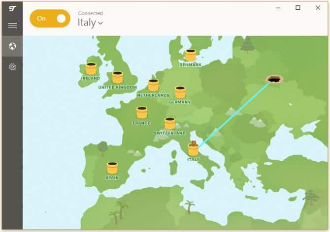 TunnelBear map showing your location and the tunnel being used