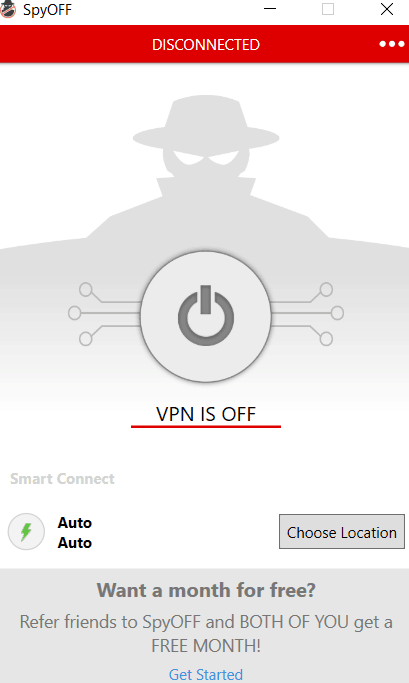 spyoff application vpn is off screen