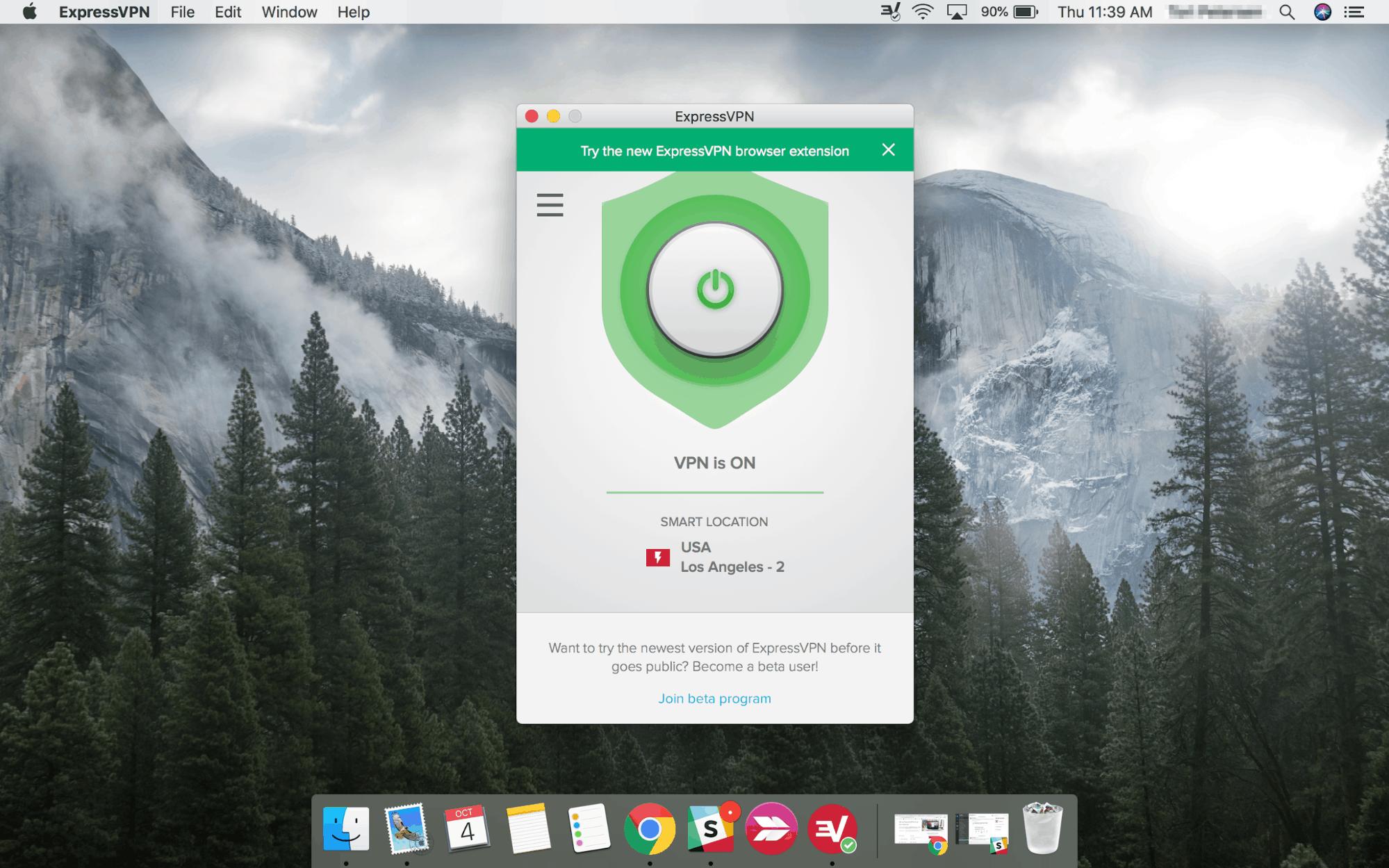 ExpressVPN Mac app VPN is On screen