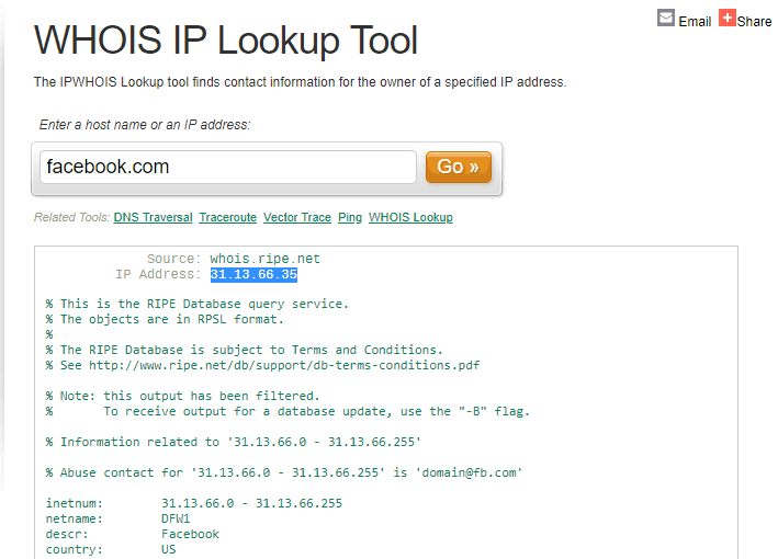 Facebook Whois IP