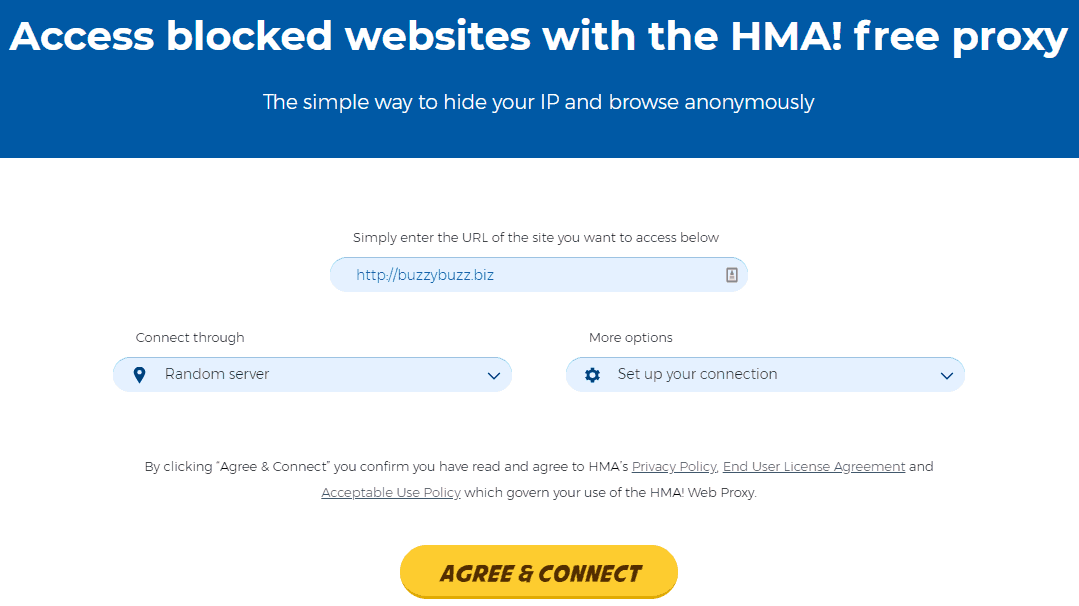 HideMyAss proxy (example proxy provider)