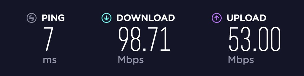 Network Speed without VPN