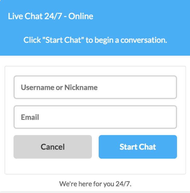 VPNArea live chat start box
