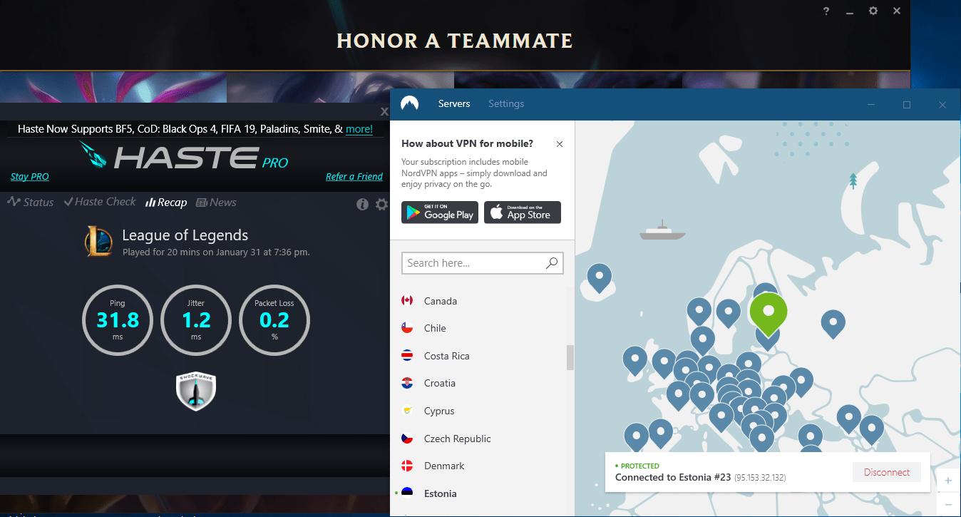 nordvpn gaming ping test