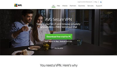 AVG VPN front page