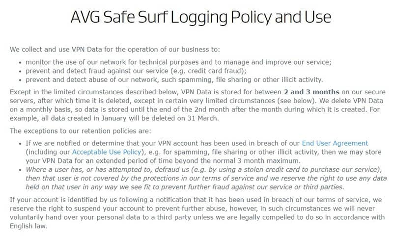 AVG VPN logging policy