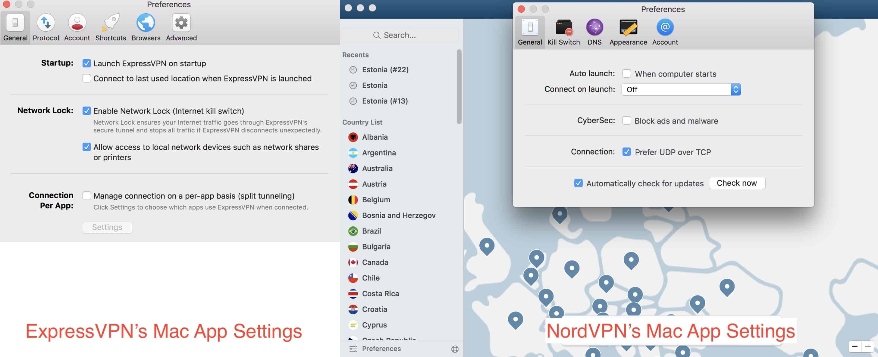 ExpressVPN vs NordVPN settings