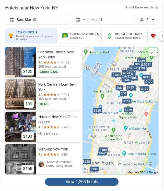 hotel prices new york