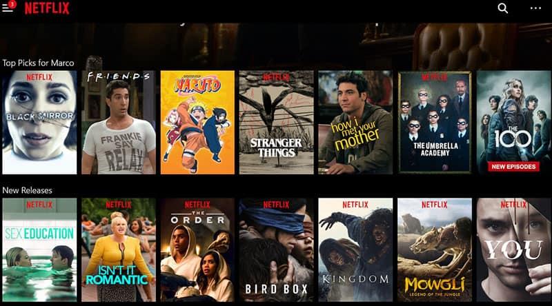 Netflix menu BrowsecVPN