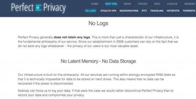 Perfect-Privacy no logs