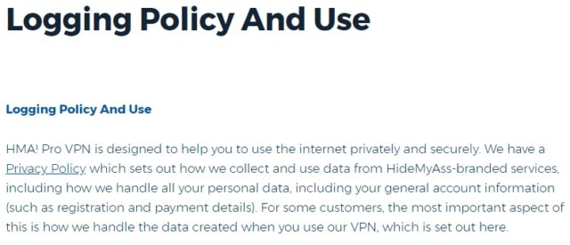 HideMyAss Privacy Policy