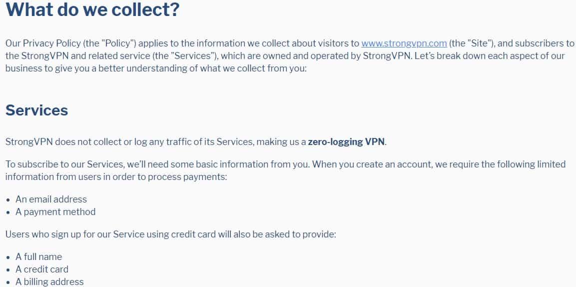 StrongVPN-Datenschutzrichtlinie
