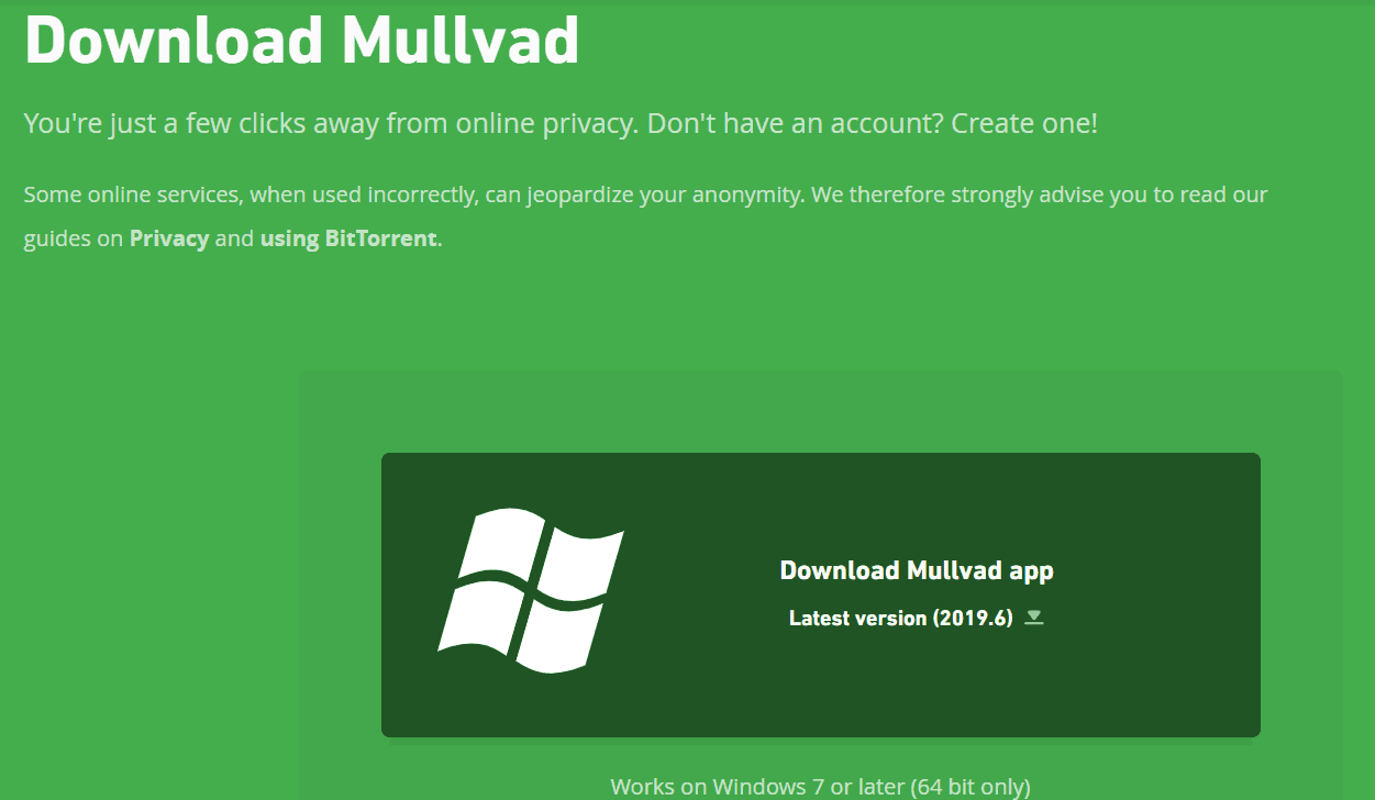 Mullvad VPN Download Page
