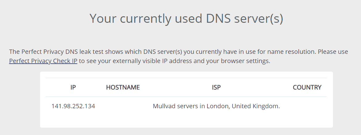 DNS Leak Results for Mullvad VPN
