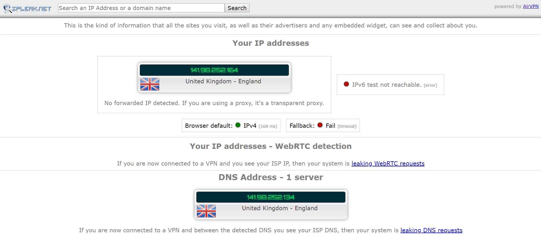 DNS Server Results for Mullvad VPN
