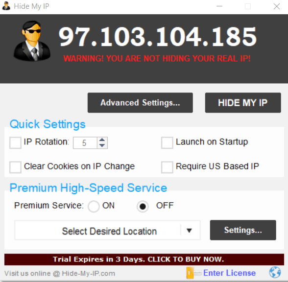 Dashboard for Hide My IP