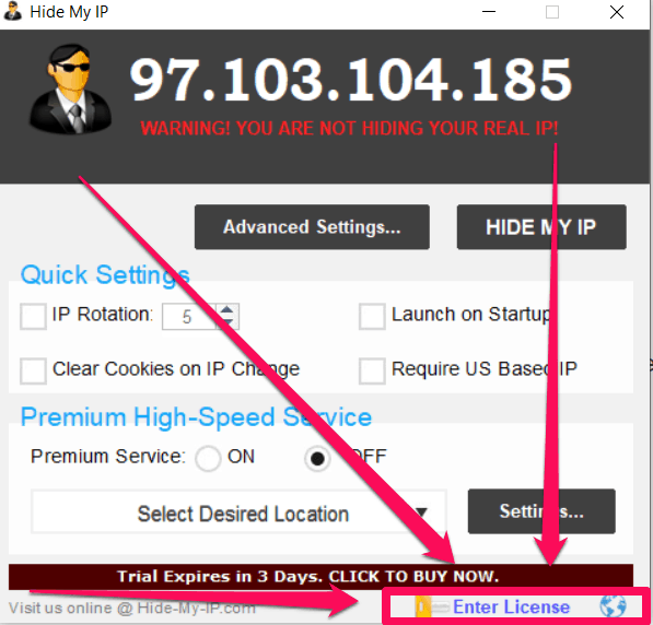 hide all ip license key and email