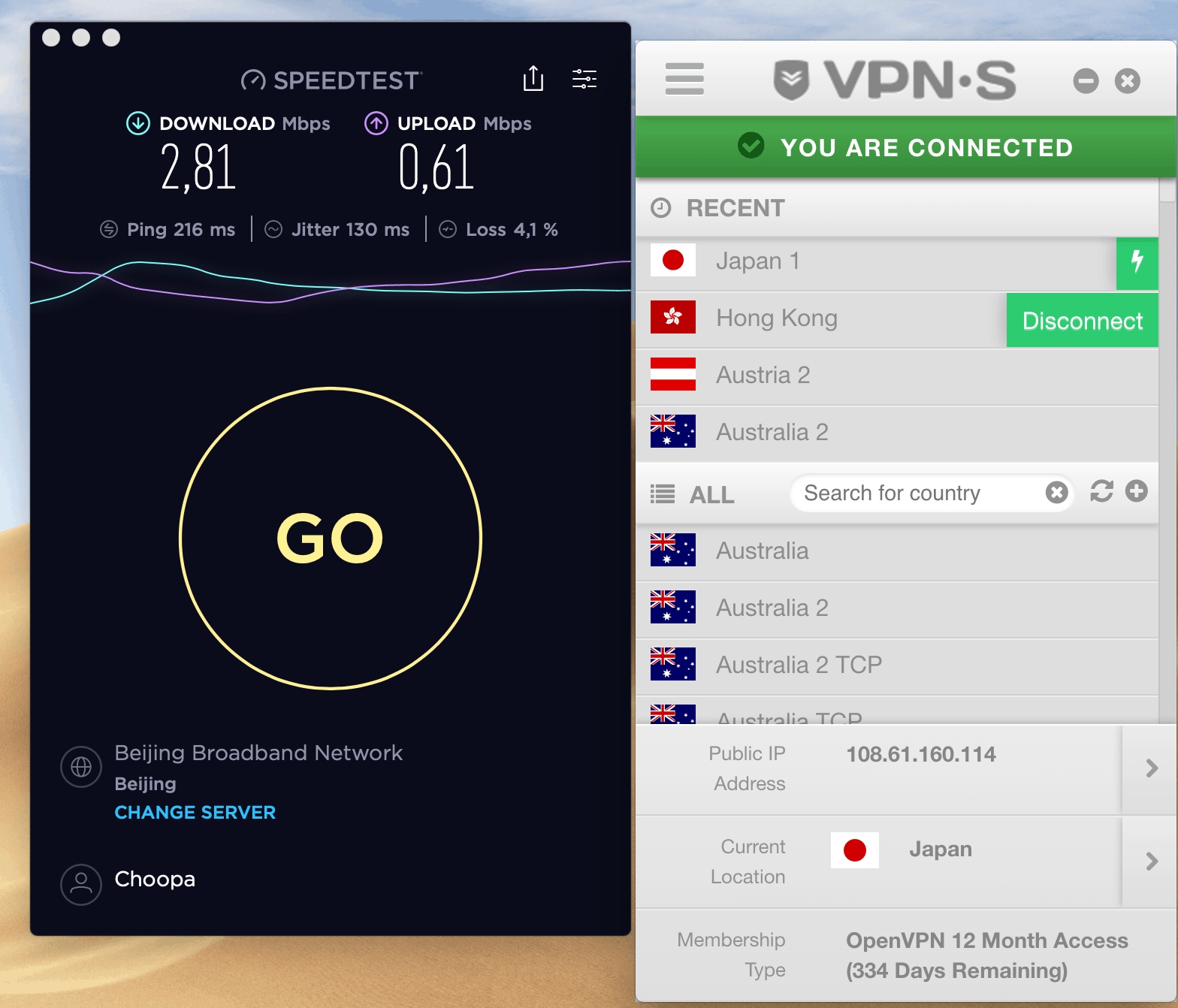 vpnsecure speed test from china unicom