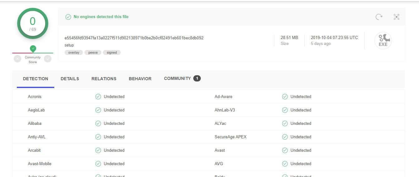 VPN's installation file on VirusTotal.com