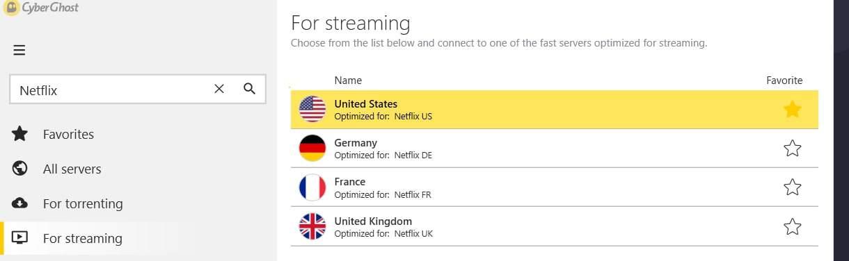 CyberGhost Netflix Servers