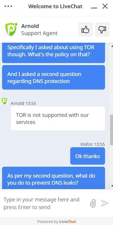 PureVPN Live Chat Response
