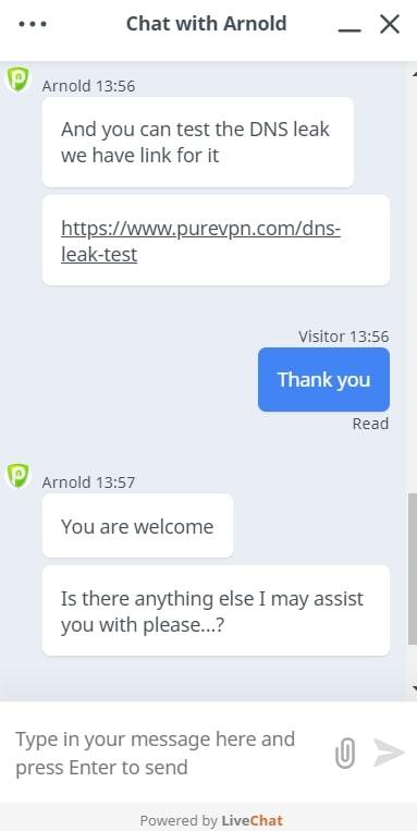 PureVPN Live Chat Antwort