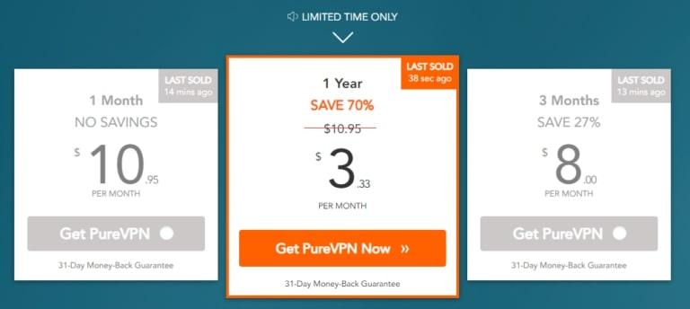 PureVPN Preisgestaltung