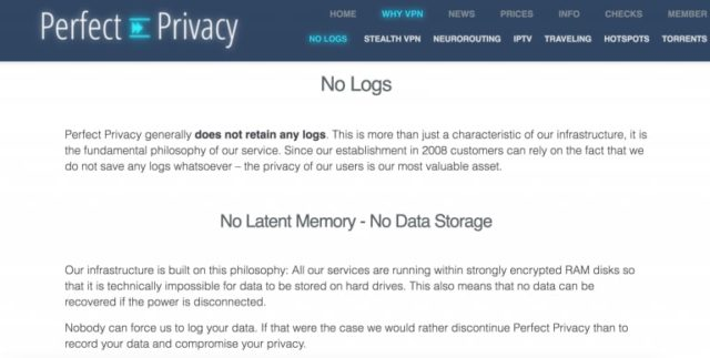 perfect privacy logging policy