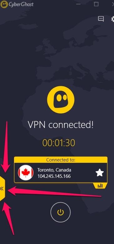 CyberGhost VPN Servers Menu