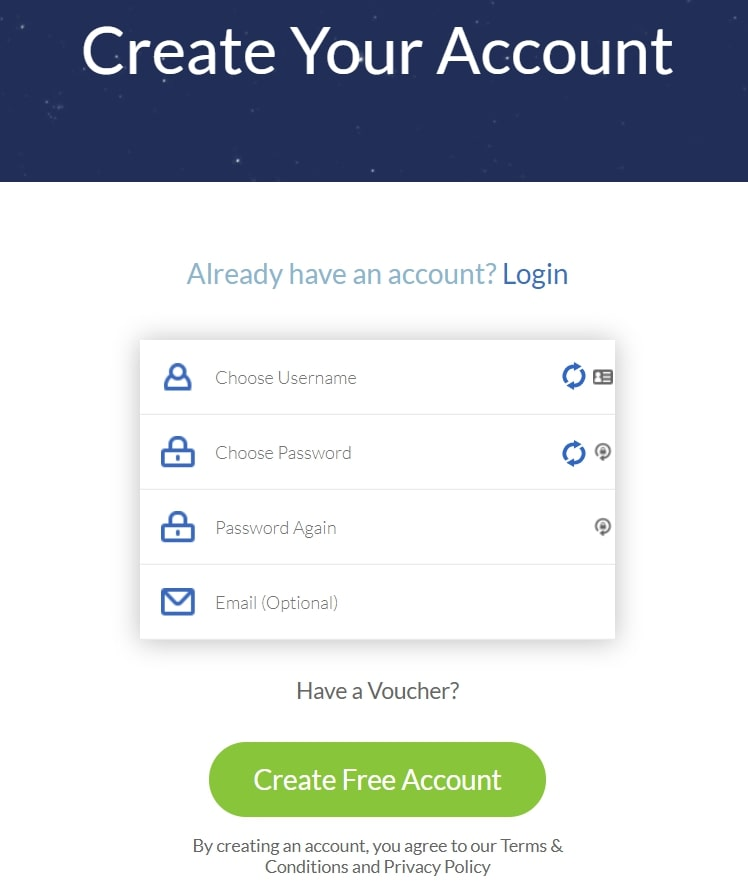 Account Creation for Windscribe VPN