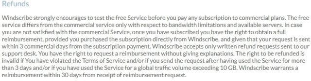 WindScribe refunds 1