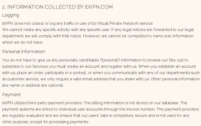 ibVPN collecting infromation