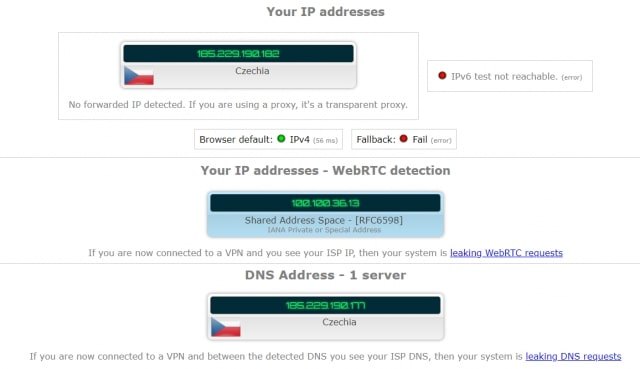 Avast IP Leak Test
