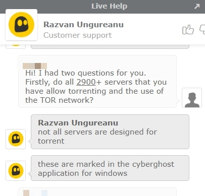 Cyberghost Live Chat on torrenting
