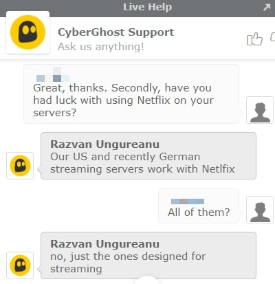 Cyberghost Live Chat on Netflix streaming