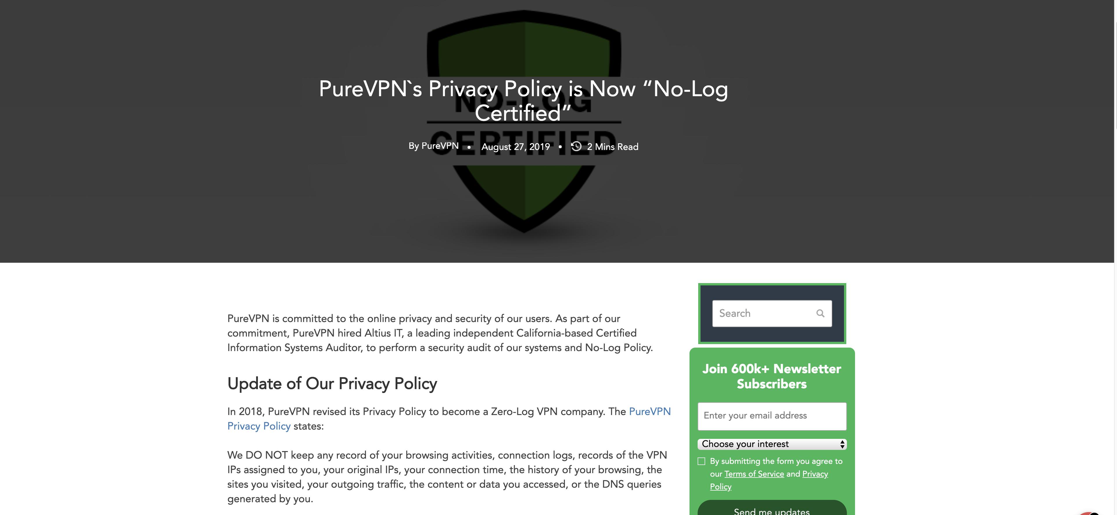 purevpn-Protokollierungsrichtlinie