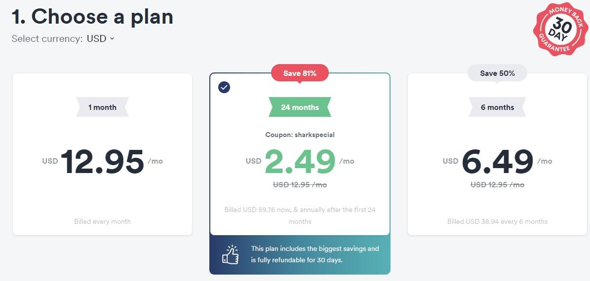 surfshark pricing options